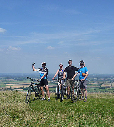 Cyclists on a hill